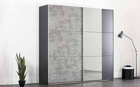 Rauch Lenny Black & Grey 2 Door Sliding Wardrobe 218cm