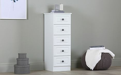 Pembroke White Narrow Chest Of Drawers 5 Drawer