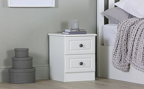 Pembroke White 2 Drawer Bedside Table