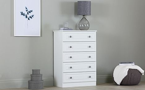 Pembroke White 5 Drawer Chest Of Drawers