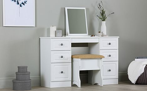 Pembroke White Double Pedestal Dressing Table 6 Drawer