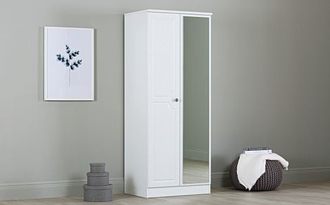Pembroke White 2 Door Wardrobe with Mirror