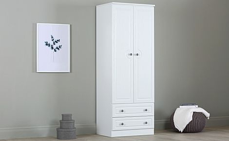 Pembroke White Tall Double Wardrobe 2 Drawer