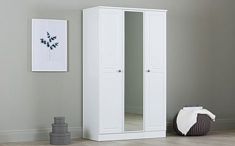 Pembroke White 3 Door Wardrobe with Mirror
