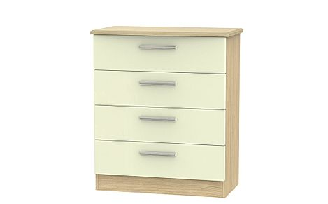 Knightsbridge Cream High Gloss and Oak 4 Drawer Chest Of Drawers