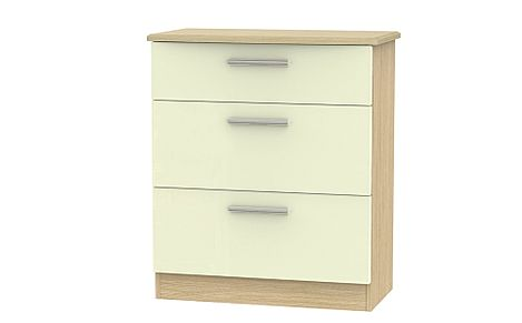 Knightsbridge Cream High Gloss and Oak Deep 3 Drawer Chest Of Drawers