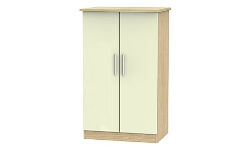 Knightsbridge Cream High Gloss And Oak Double Midi Wardrobe