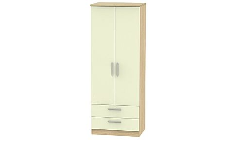 Knightsbridge Cream High Gloss and Oak Tall 2 Door 2 Drawer Wardrobe