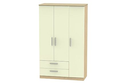 Knightsbridge Cream High Gloss And Oak Triple Wardrobe 2 Drawer
