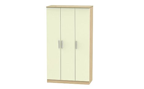 Knightsbridge Cream High Gloss and Oak Tall 3 Door Wardrobe