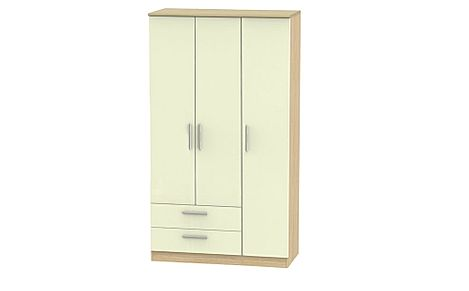 Knightsbridge Cream High Gloss And Oak Tall Triple Wardrobe 2 Drawer