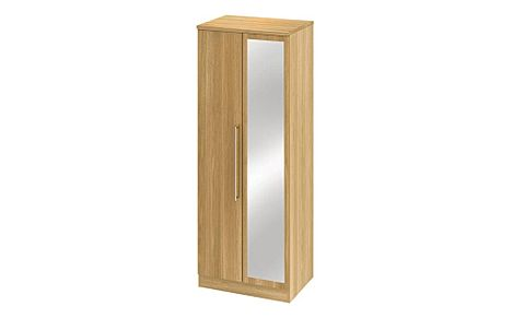 Sherwood Modern Oak Tall 2 Door Wardrobe with Mirror