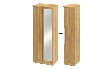 Sherwood Modern Oak Tall Triple Mirrored Wardrobe