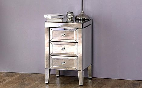 Valencia 3 Drawer Mirrored Bedside Table