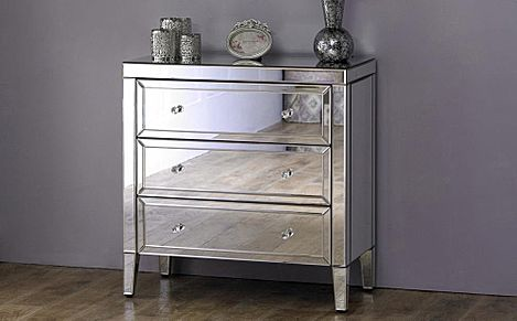 Valencia Mirrored 3 Drawer Chest of Drawers