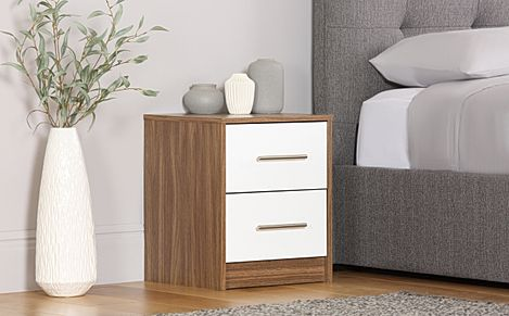 Bloomsbury Walnut and White High Gloss 2 Drawer Bedside Table