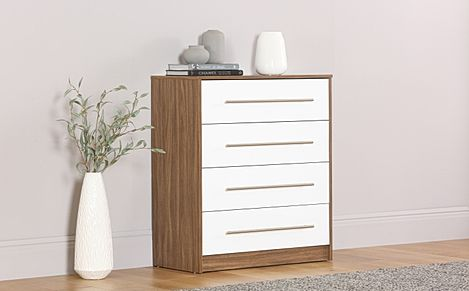 Bloomsbury Walnut & White High Gloss 4 Drawer Chest of Drawers