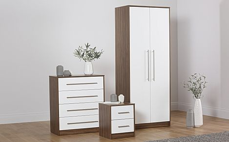 Bloomsbury Walnut & White High Gloss 3 Piece 2 Door Wardrobe Bedroom Furniture Set