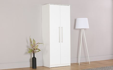 Bloomsbury White and White High Gloss 2 Door Wardrobe
