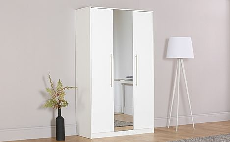 Bloomsbury White and White High Gloss 3 Door Wardrobe with Mirror