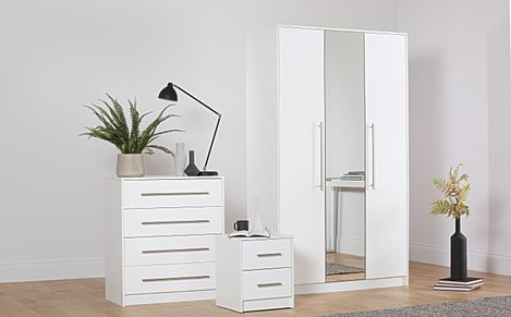 Bloomsbury White and White High Gloss 3 Piece 3 Door Wardrobe Bedroom Furniture Set