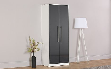 Bloomsbury White and Grey High Gloss 2 Door Wardrobe