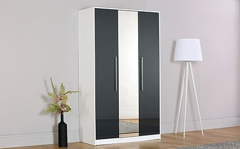 Bloomsbury White and Grey High Gloss 3 Door Wardrobe with Mirror