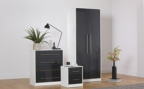 Bloomsbury White & Grey High Gloss 3 Piece 2 Door Wardrobe Bedroom Furniture Set