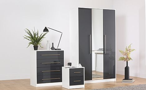 Bloomsbury White and Grey High Gloss 3 Piece 3 Door Wardrobe Bedroom Furniture Set
