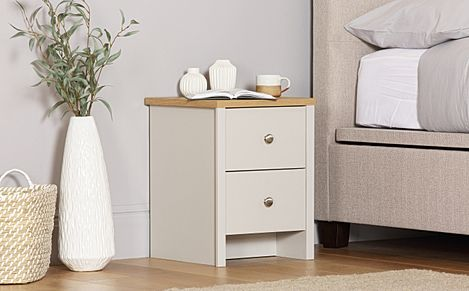 Ashworth Putty and Oak 2 Drawer Bedside Table
