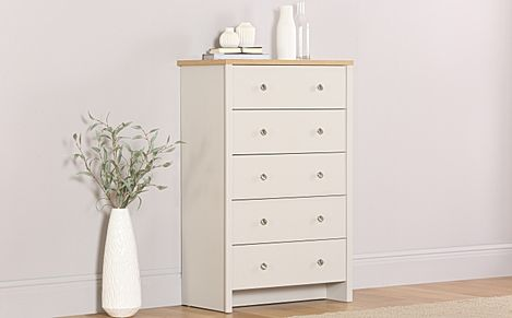 Ashworth Putty & Oak 5 Drawer Chest of Drawers