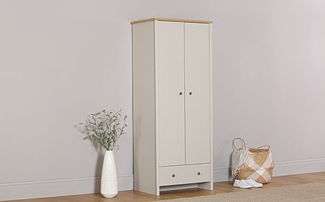 Ashworth Putty & Oak 2 Door 1 Drawer Wardrobe
