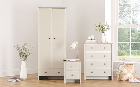 Ashworth Putty & Oak Bedroom 3 Piece 2 Door Wardrobe Bedroom Furniture Set