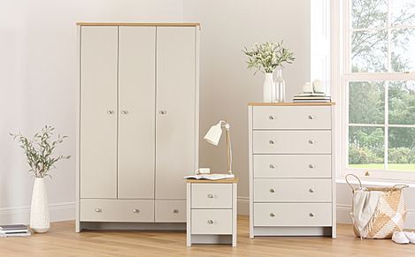 Ashworth Putty & Oak 3 Piece 3 Door Wardrobe Bedroom Furniture Set