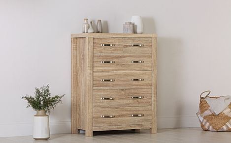 Lindley Sonoma Oak 6 Drawer Chest of Drawers - 83cm