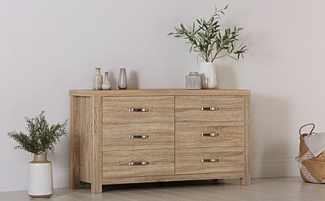Lindley Sonoma Oak 6 Drawer Wide Chest of Drawers - 130cm