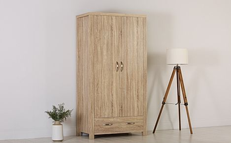 Lindley Sonoma Oak 2 Door 1 Drawer Wardrobe