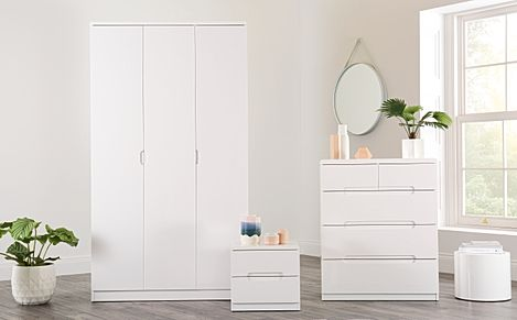 Serene White High Gloss 3 Piece 3 Door Wardrobe Bedroom Furniture Set