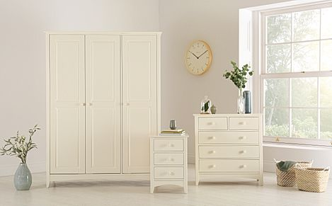 Chatham Stone White 3 Piece 3 Door Wardrobe Bedroom Furniture Set