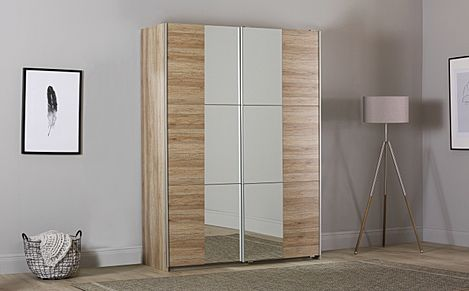 Rauch Fellbach Light Oak 2 Door Sliding Wardrobe with Mirror 175cm