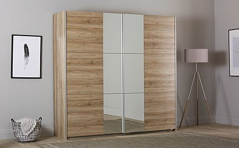 Rauch Fellbach Light Oak 2 Door Sliding Wardrobe with Mirror 218cm