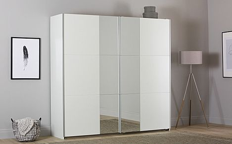Rauch Fellbach 218cm White 2 Door Sliding Wardrobe with Mirror