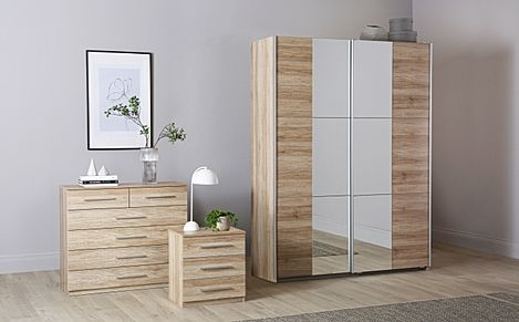 Rauch Fellbach Light Oak 3 Piece 2 Door Sliding Wardrobe Bedroom Furniture Set 175cm