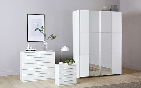 Rauch Fellbach White 3 Piece 2 Door Sliding Wardrobe Bedroom Furniture Set 175cm
