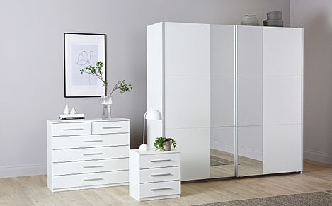 Rauch Fellbach White 3 Piece 2 Door Sliding Wardrobe Bedroom Furniture Set 218cm