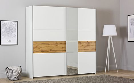 Rauch Korbach White and Oak 2 Door Sliding Wardrobe with Mirror 218cm