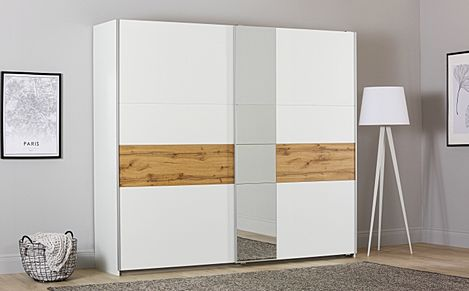Rauch Korbach White and Oak 2 Door Sliding Wardrobe with Mirror 261cm