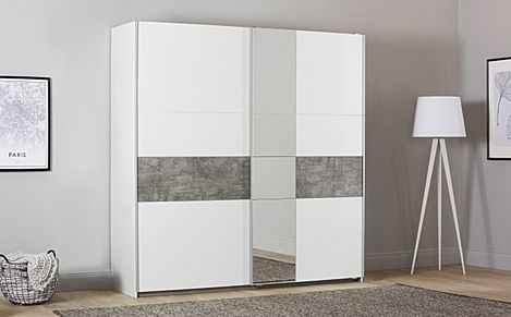 Rauch Korbach 218cm White and Stone Grey 2 Door Sliding Wardrobe with Mirror