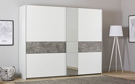 Rauch Korbach White and Stone Grey 2 Door Sliding Wardrobe with Mirror 261cm
