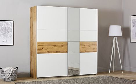Rauch Korbach Oak and White 2 Door Sliding Wardrobe with Mirror 218cm
